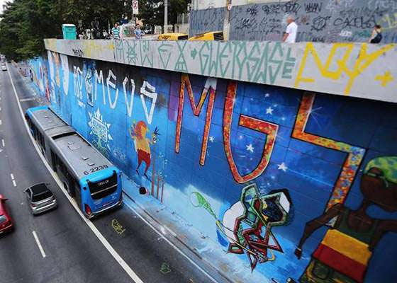 MUROS DA AVENIDA 23 DE MAIO RECEBEM GRAFITE EM SP.
